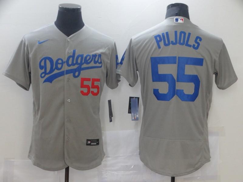 Dodgers 55 Albert Pujols Gray 2020 Nike Flexbase Jersey