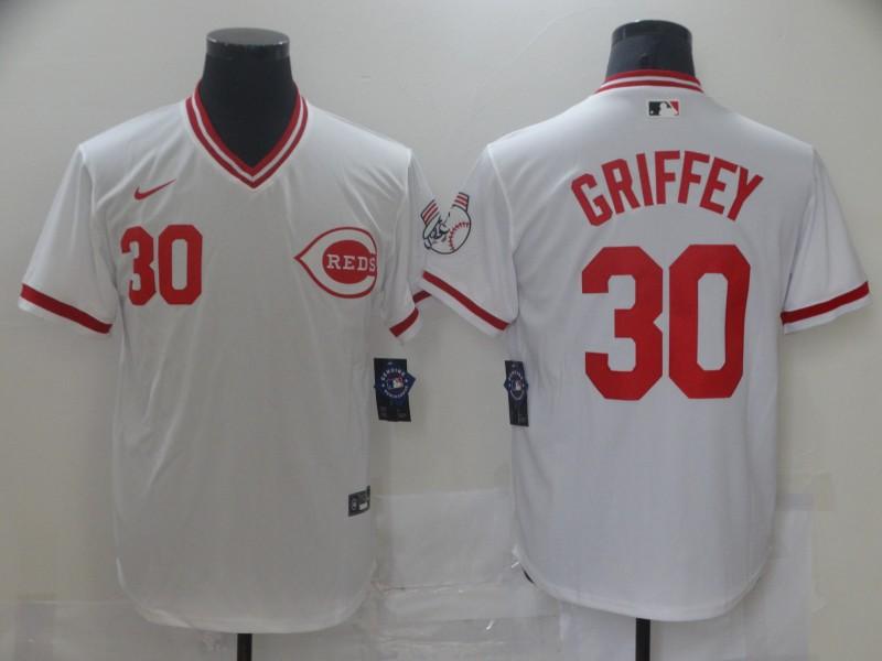 Reds 30 Ken Griffey Jr White Nike Throwback Jersey