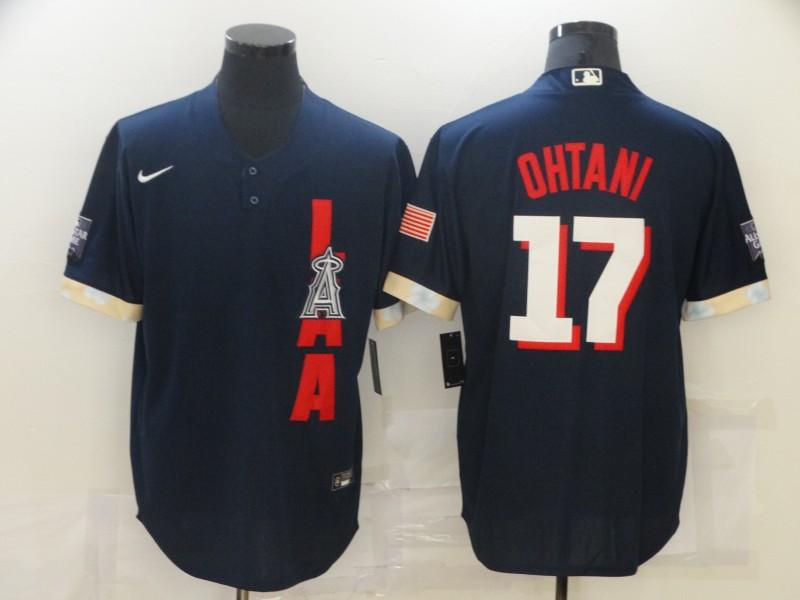 Angels 17 Shohei Ohtani Navy Nike 2021 MLB All-Star Cool Base Jersey