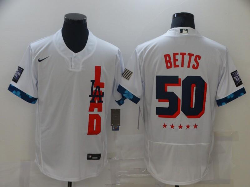 Dodgers 50 Mookie Betts White Nike 2021 MLB All-Star Flexbase Jersey