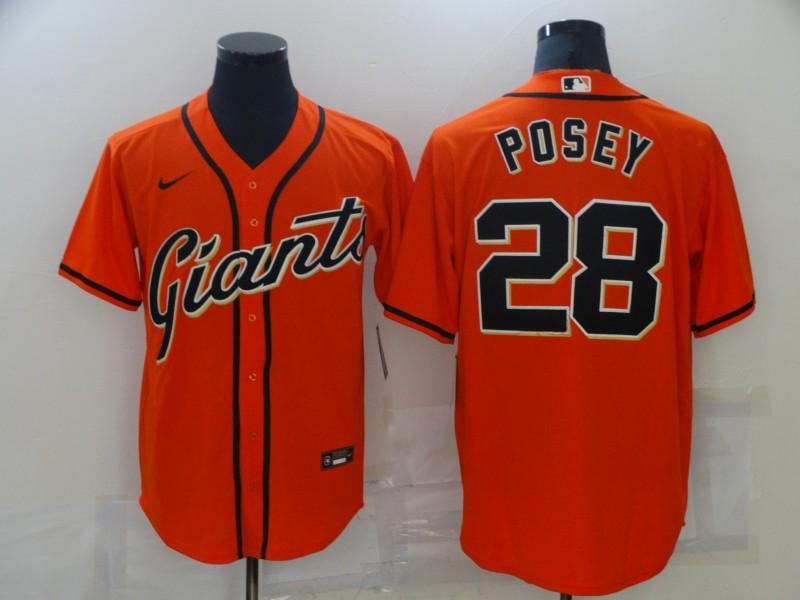 Giants 28 Buster Posey Orange 2020 Nike Cool Base Jersey