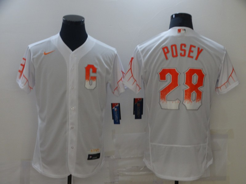 Giants 28 Buster Posey White Nike 2021 City Connect Flexbase Jersey