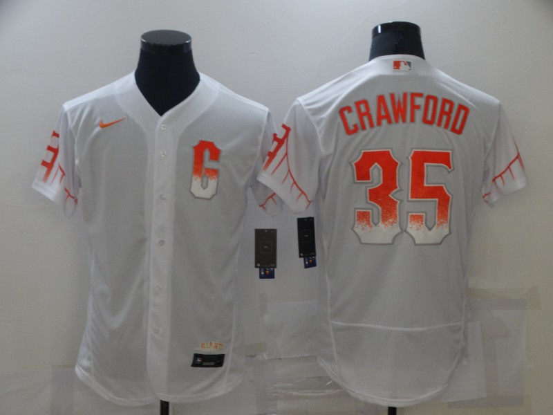 Giants 35 Brandon Crawford White Nike 2021 City Connect Flexbase Jersey
