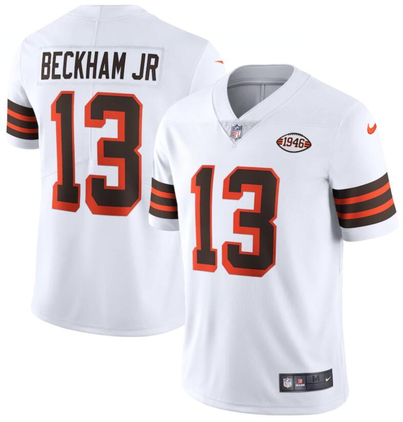 Nike Browns 13 Odell Beckham Jr. White 1946 Collection Alternate Vapor Limited Jersey