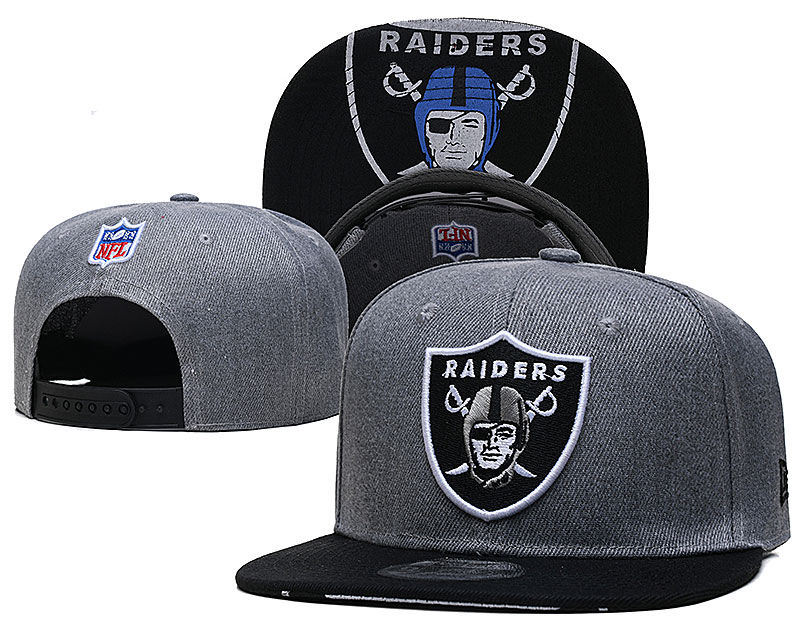 Raiders Team Logo Gray Adjustable Hat TX