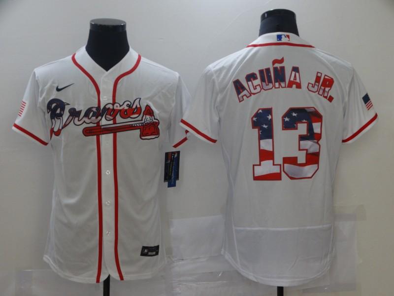 Braves 13 Ronald Acuna Jr. White USA Flag Fashion Nike Flexbase Jersey