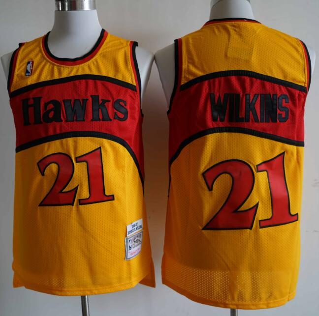 Hawks 21 Dominique Wilkins Orange 1986-87 Hardwood Classics Jersey