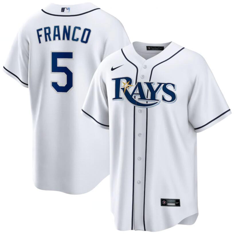 Rays 5 Wander Franco White Nike Cool Base Jersey