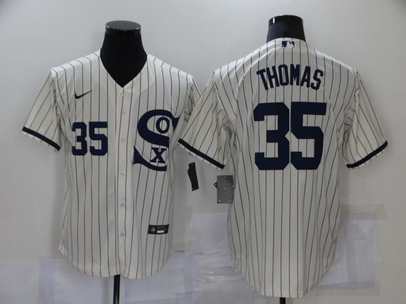 White Sox 35 Frank Thomas Cream Nike 2021 Field Of Dreams Cool Base Jersey