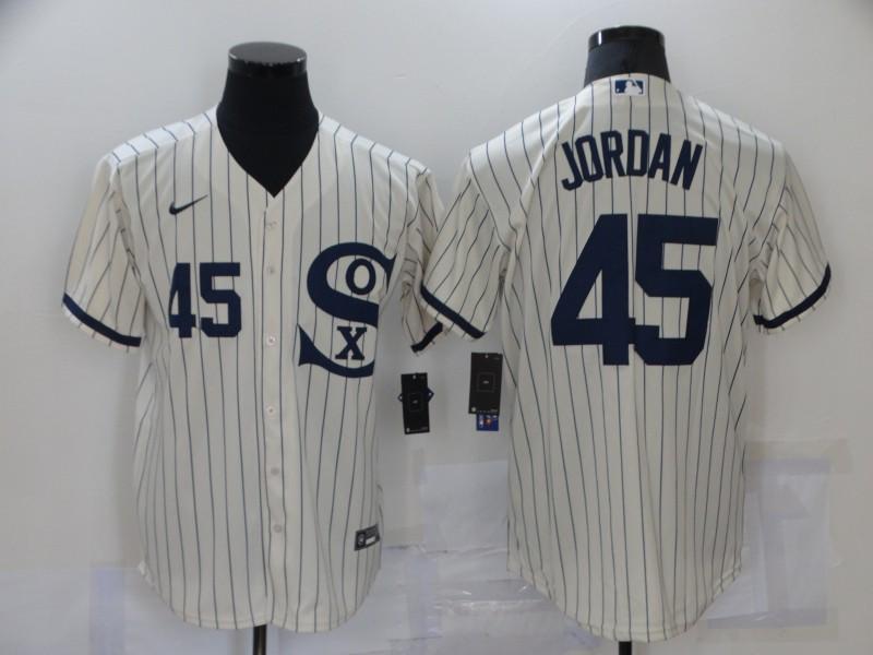 White Sox 45 Jordan Cream Nike 2021 Field Of Dreams Cool Base Jerseys