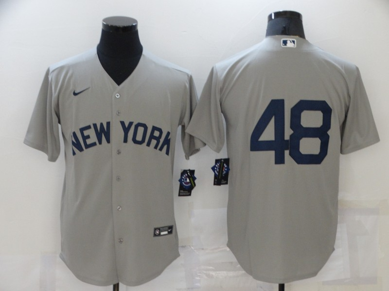 Yankees 48 Anthony Rizzo Gray Nike 2021 Field Of Dreams Cool Base Jersey