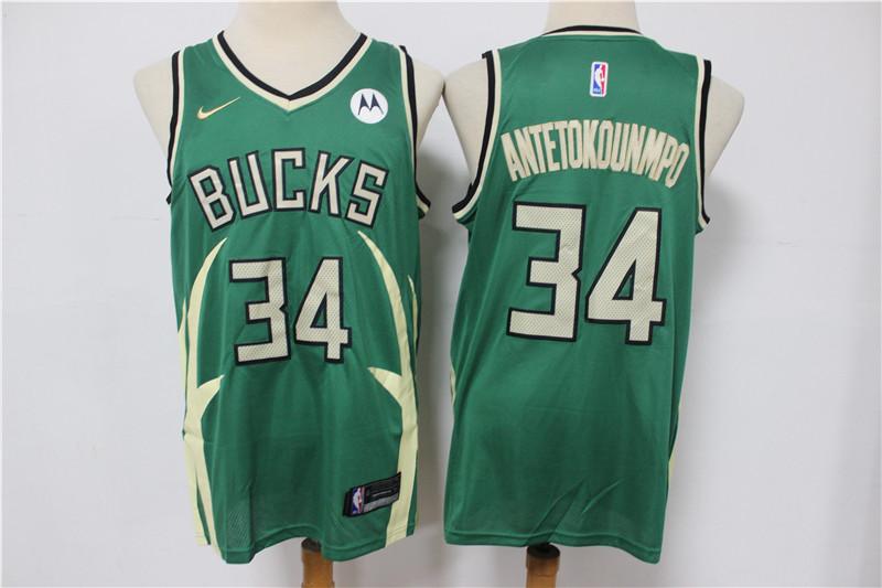Bucks 34 Giannis Antetokounmpo Green Nike 2021 Earned Edition Swingman Jersey