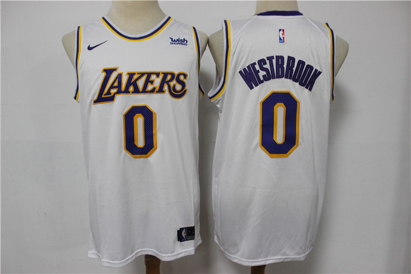 Lakers 0 Russell Westbrook White Nike Swingman Jersey