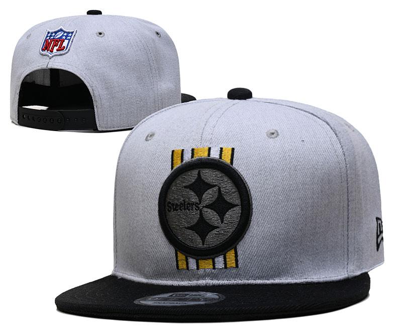 Steelers Team Logo Gray Black Adjustable Hat YD