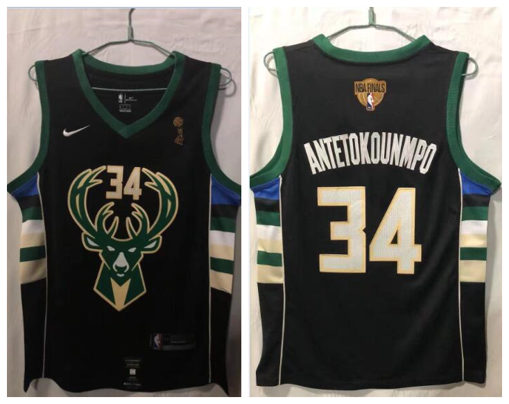 Bucks 34 Giannis Antetokounmpo Black Nike 2021 NBA Finals Champions Swingman Jersey