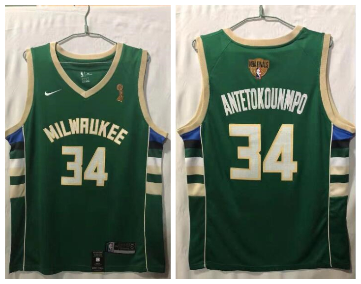 Bucks 34 Giannis Antetokounmpo Green Nike 2021 NBA Finals Champions Swingman Jersey
