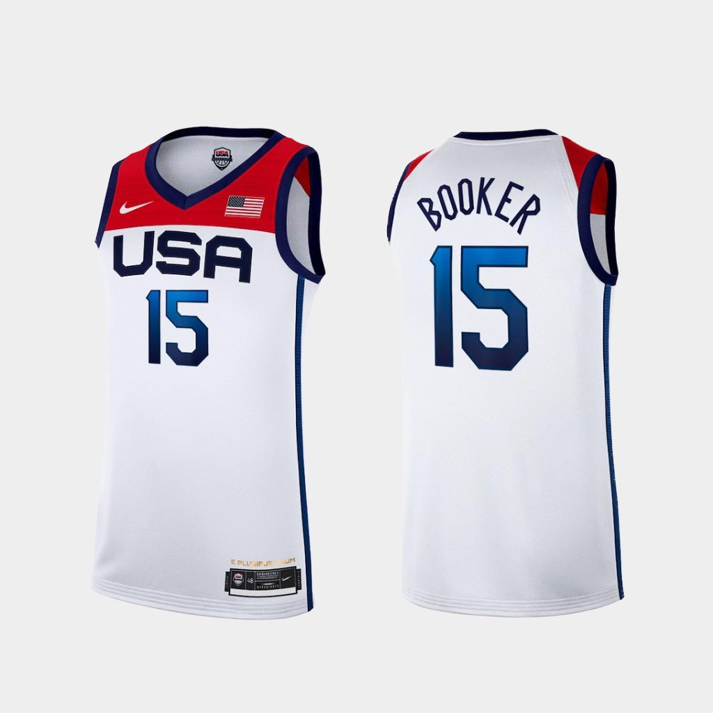 Team USA 15 Booker White 2021 Olympics Basketball Swingman Jersey