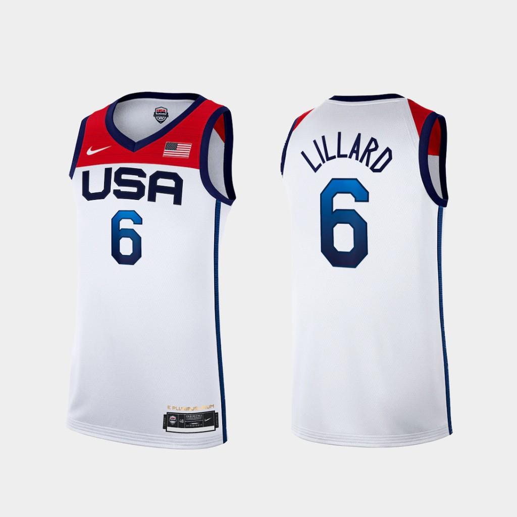 Team USA 6 Lillard White 2021 Olympics Basketball Swingman Jersey