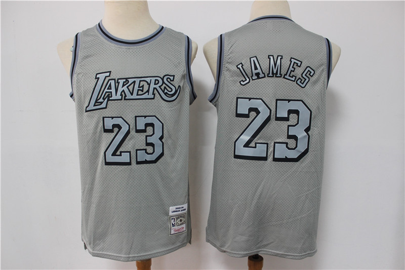 Lakers 23 LeBron James Gray Hardwood Classics Jersey