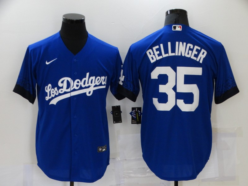 Dodgers 35 Cody Bellinger Royal 2021 City Connect Cool Base Jersey
