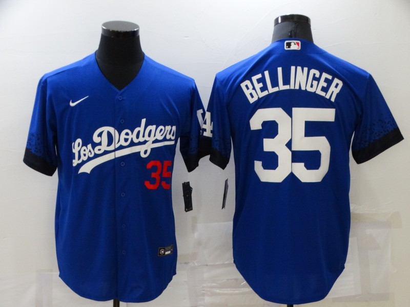 Dodgers 35 Cody Bellinger Royal 2021 City Connect Cool Base Jerseys
