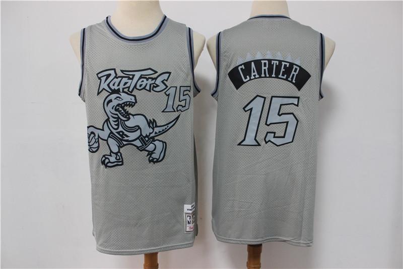 Raptors 15 Vince Carter Gray Hardwood Classics Jersey