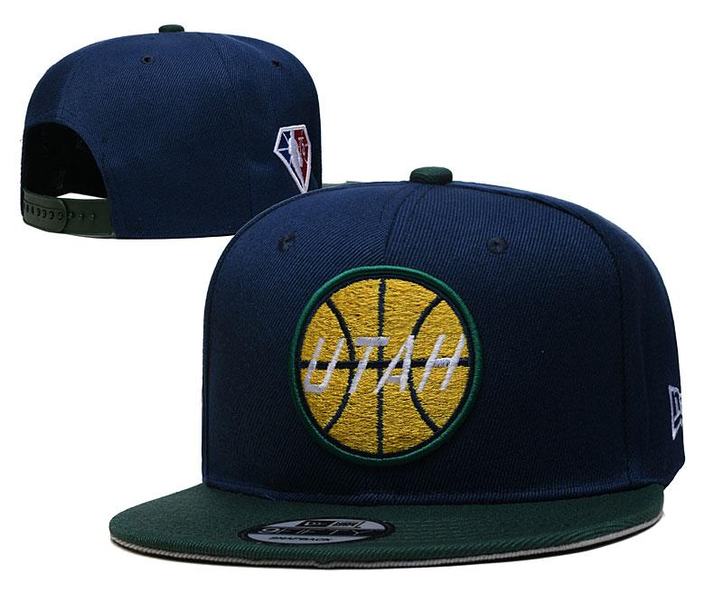 Jazz Team Logo New Era Navy 2021 NBA Draft Adjustable Hat YD
