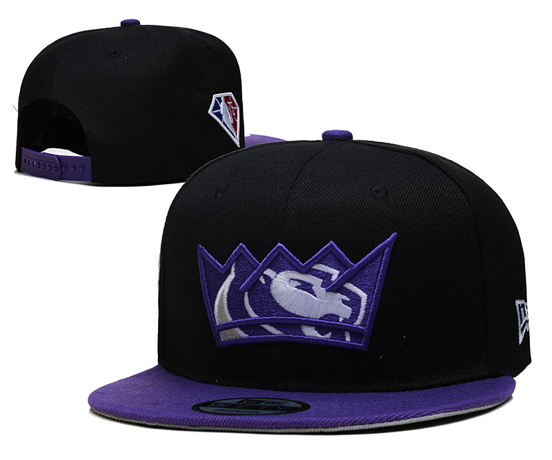 Kings Team Logo New Era Black Purple 2021 NBA Draft Adjustable Hat YD