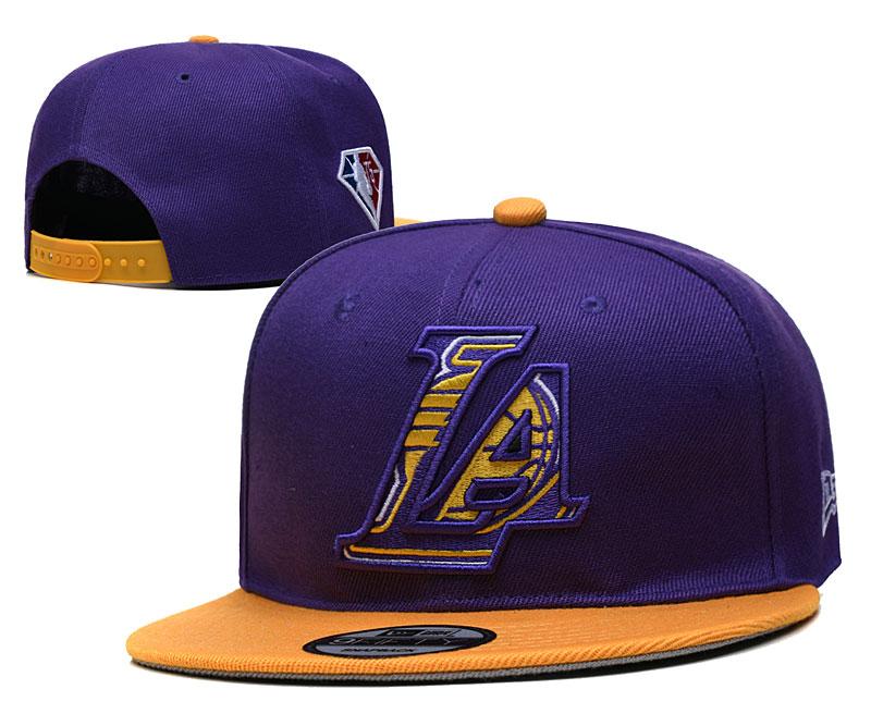 Lakers Team Logo New Era Purple Yellow 2021 NBA Draft Adjustable Hat YD