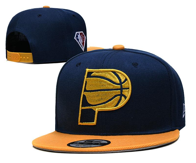 Pacers Team Logo New Era Navy Yellow 2021 NBA Draft Adjustable Hat YD