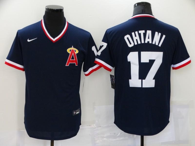 Angels 17 Shohei Ohtani Navy Nike 2021 Throwback Cool Base Jersey