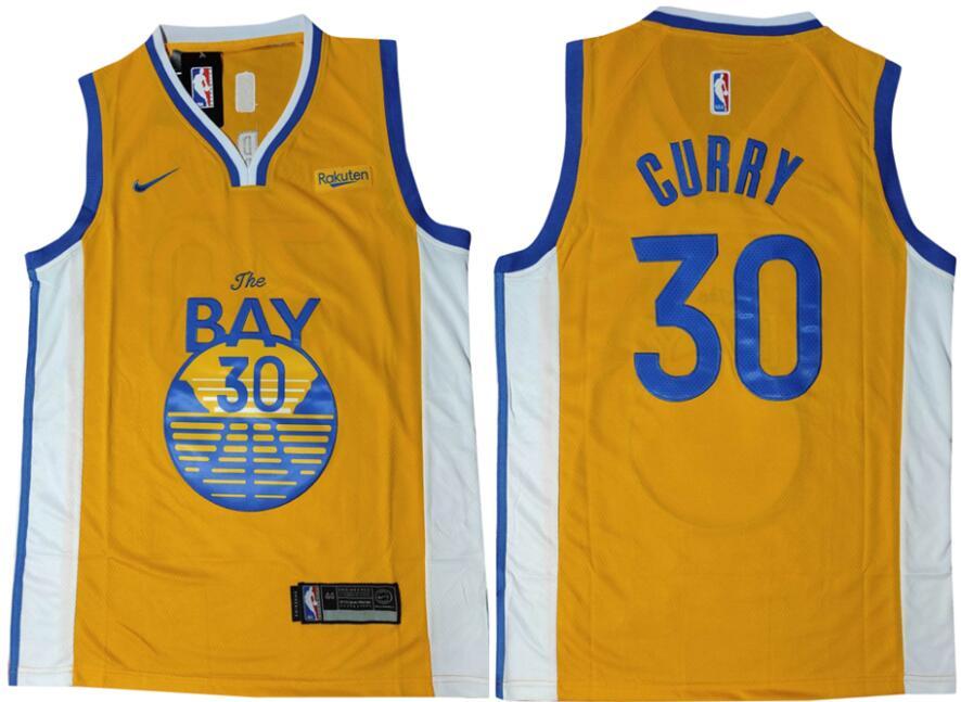 Warriors 30 Stephen Curry Yellow Nike Swingman Jersey