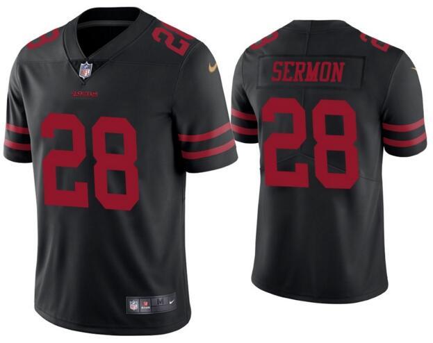 Nike 49ers 28 Trey Sermon Black Vapor Untouchable Limited Jersey