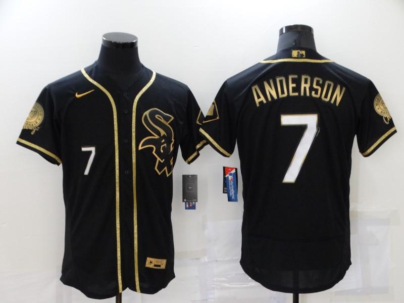 White Sox 7 Tim Anderson Black Gold Nike Flexbase Jersey