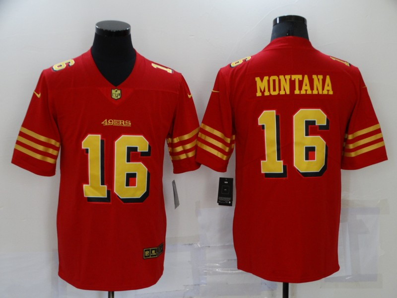 Nike 49ers 16 Joe Montana Red Gold Color Rush Vapor Untouchable Limited Jersey