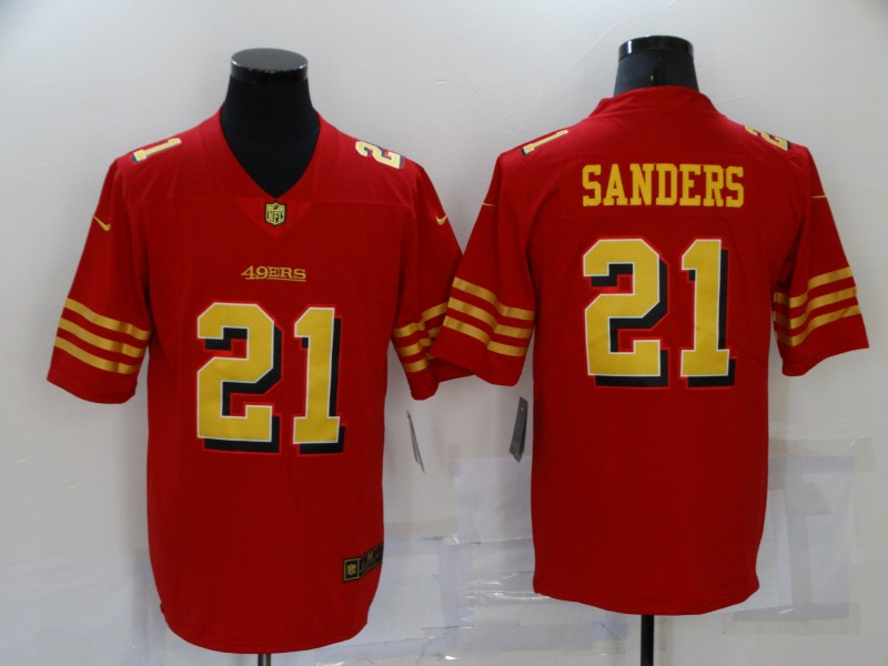 Nike 49ers 21 Deion Sanders Red Gold Color Rush Vapor Untouchable Limited Jersey