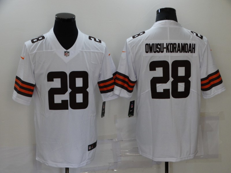 Nike Browns 28 Jeremiah Owusu Koramoah White Vapor Untouchable Limited Jersey