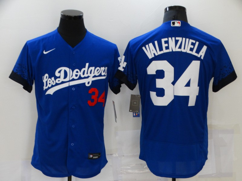 Dodgers 34 Fernando Valenzuela Royal 2021 City Connect Flexbase Jersey