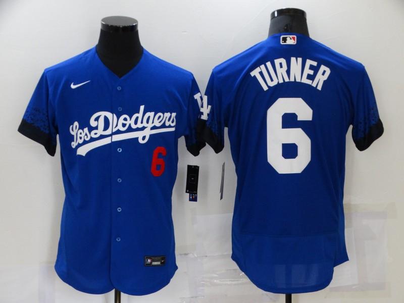Dodgers 6 Trea Turner Royal 2021 City Connect Flexbase Jersey