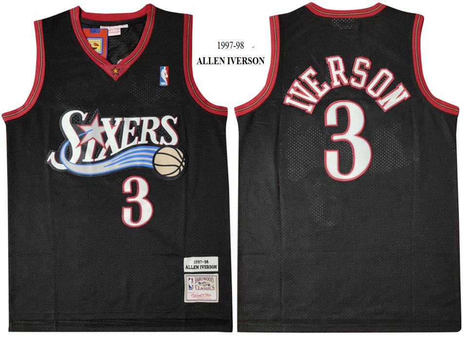 76ers 3 Allen Iverson Black 1997-98 Hardwood Classics Mesh Jersey