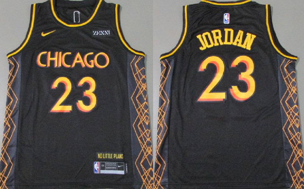 Bulls 23 Michael Jordan Black 2021 City Edition Nike Swingman Jersey