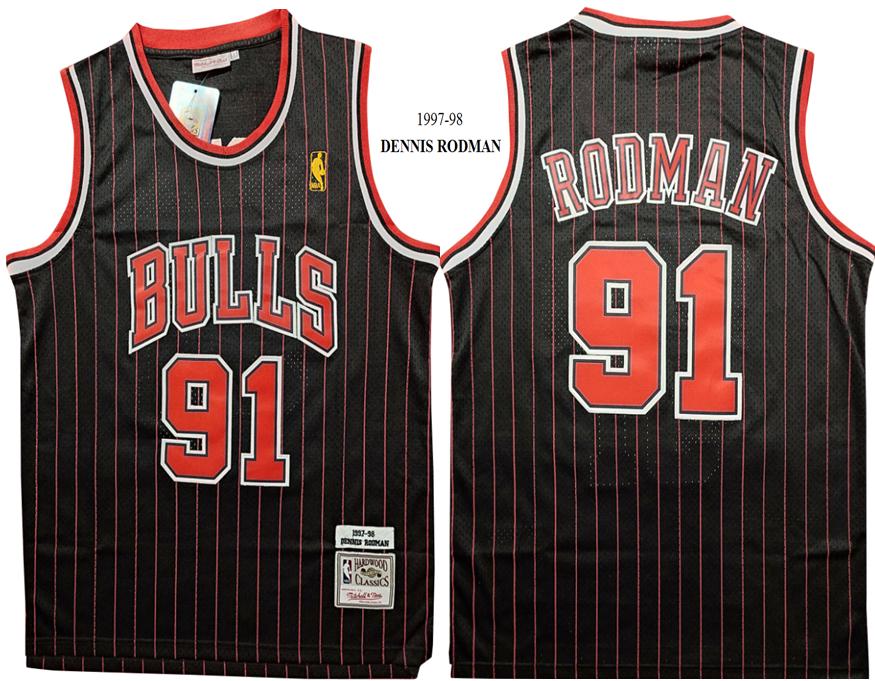 Bulls 91 Dennis Rodman Black 1997-98 Hardwood Classics Jersey