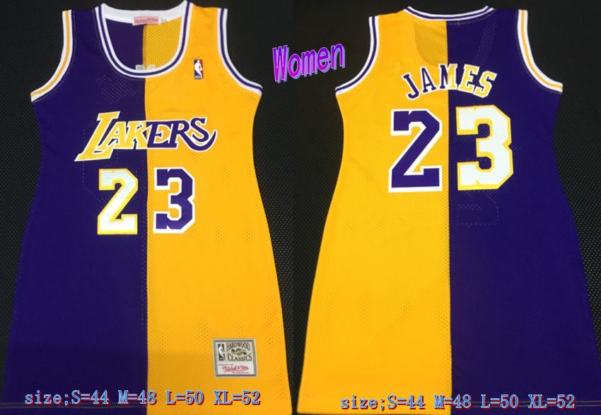 Lakers 23 LeBron James Split Purple Yellow Women Hardwood Classics Mesh Jersey