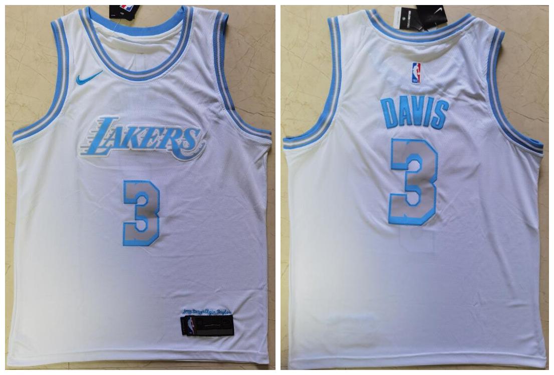 Lakers 3 Anthony Davis White 2021 City Edition Nike Swingman Jersey