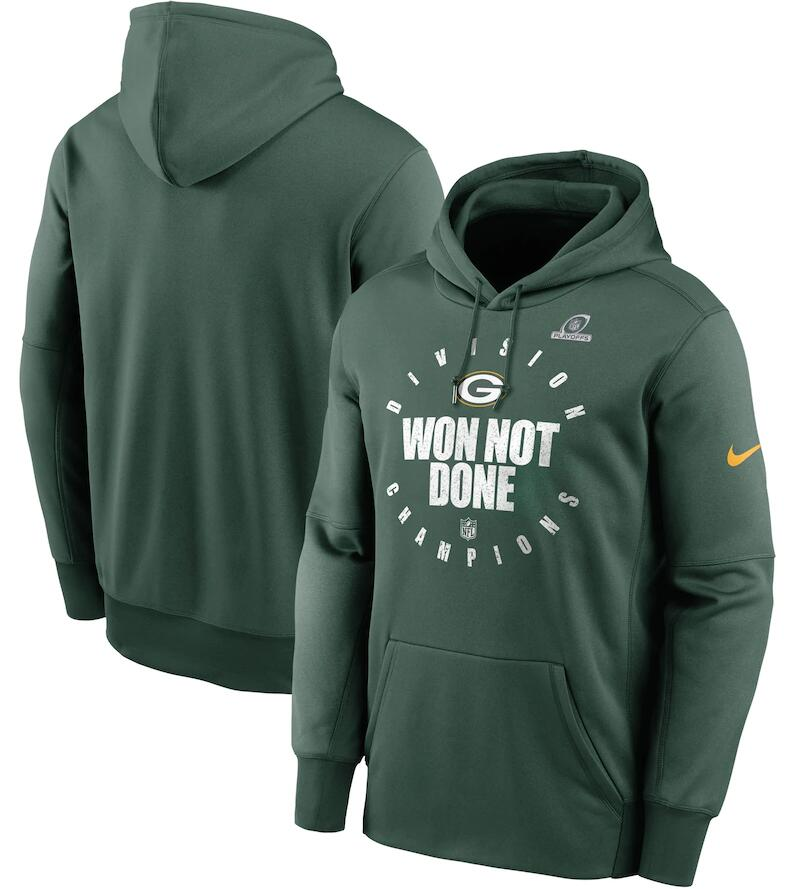 Men's Green Bay Packers Nike Green 2020 NFC North Division Champions Trophy Collection Pullover Hoodie