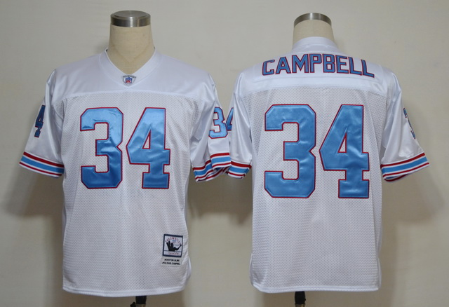 Oilers 34 Earl Campbell White Throwback Jersey