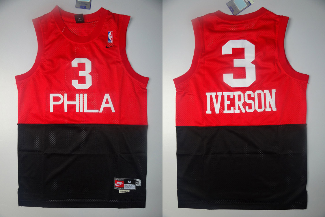 76ers 3 Iverson Red&Black Jerseys