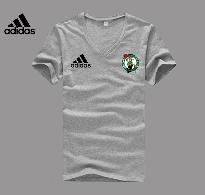 Adidas Boston Celtics grey V-neck T-shirt