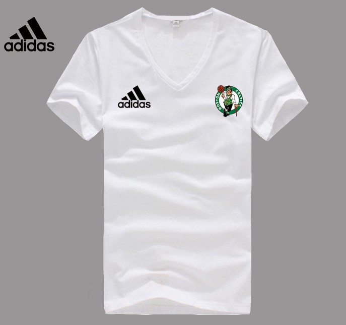 Adidas Boston Celtics white V-neck T-shirt