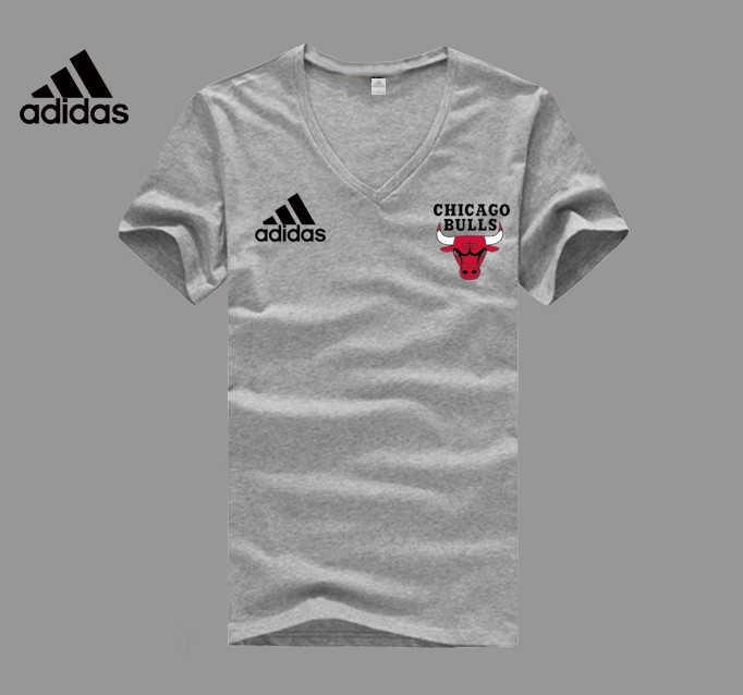 Adidas Chicago Bulls grey V-neck T-shirt